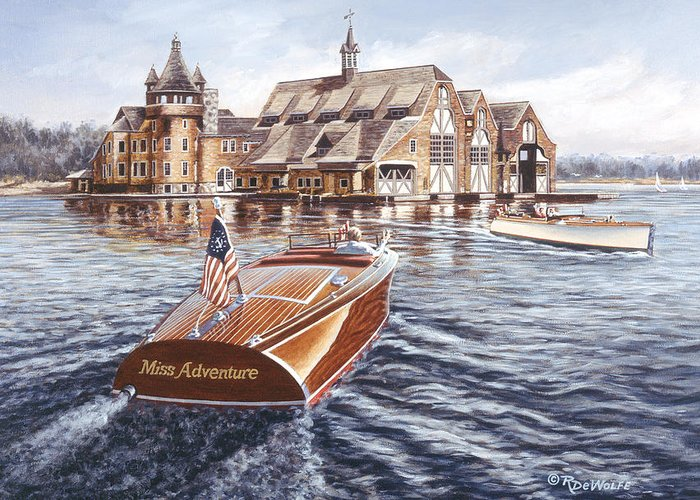 Chris Craft Greeting Card featuring the painting Miss Adventure by Richard De Wolfe