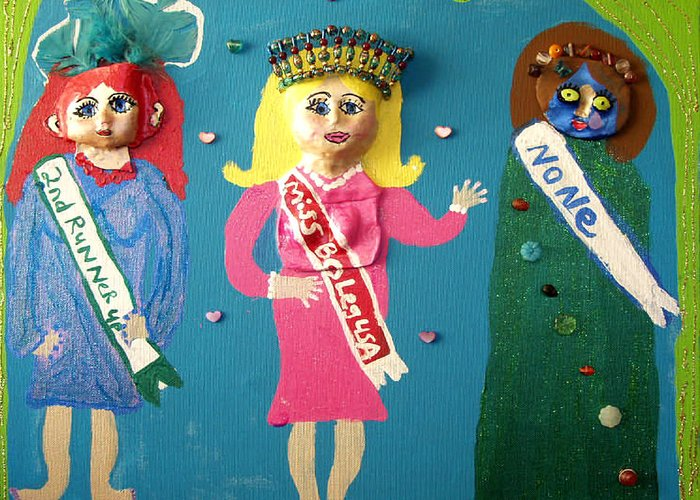 Greeting Card featuring the mixed media Miss Bo Leg Usa by Betty Roberts