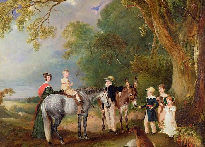 Xyc306184 Greeting Card featuring the photograph Miss Catherine Herrick With Her Nieces And Nephews by John E Ferneley