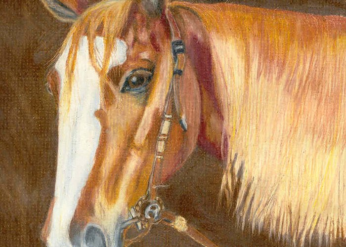 Horse Greeting Card featuring the pastel Miss Cow Chex by Mendy Pedersen