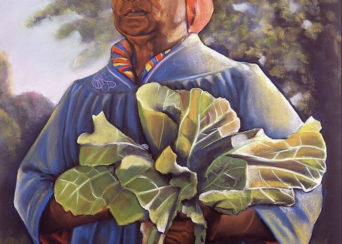 Women Greeting Card featuring the pastel Miss Emma's Collard Greens by Curtis James