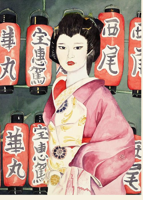 Geisha In Kimono With Red Lanterns Greeting Card featuring the painting Miss Hanamaru At Osaka Festival by Judy Swerlick
