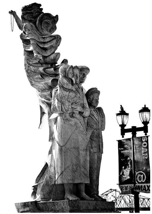 Black And White Greeting Card featuring the photograph Miss Liberty And The Immigrant Family by Kathleen K Parker