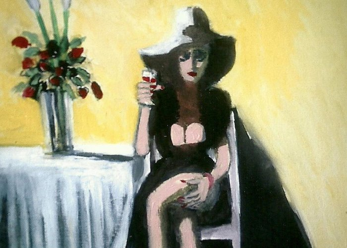 Food Greeting Card featuring the painting Miss Lonely Hearts by Harry Weisburd