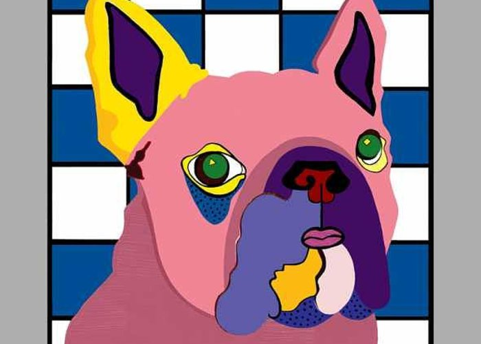 Pop Art Greeting Card featuring the painting Miss Rose The French Bulldog by Ruby Persson