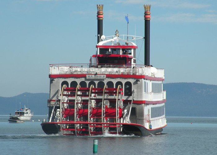Paddle Wheel;lake Tahoe Greeting Card featuring the photograph Missing The Boat by Peter Hennessey