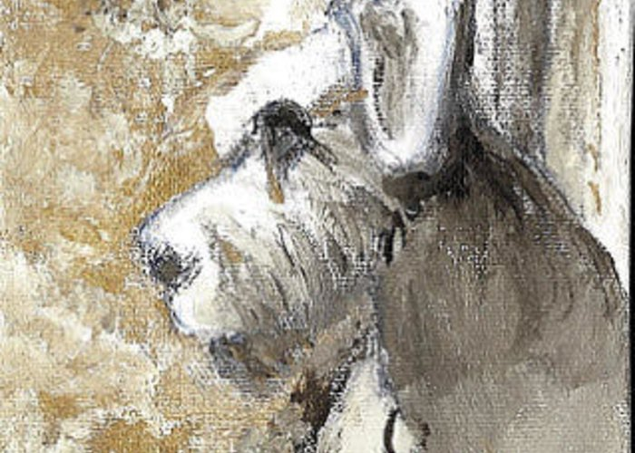 Schnauzer Greeting Card featuring the painting Missing You by Linda Spinella