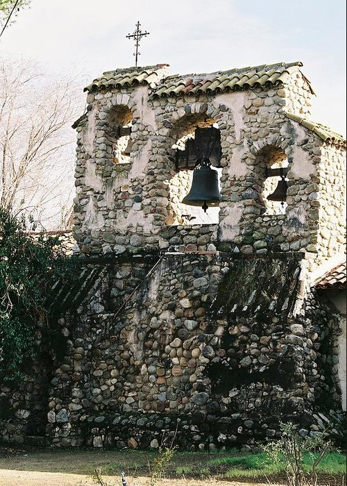 Landscape Greeting Card featuring the photograph Mission Bells On Side Wall by Edward Wolverton