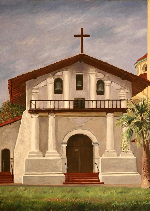 San Francisco Greeting Card featuring the painting Mission Dolores by Rosencruz Sumera