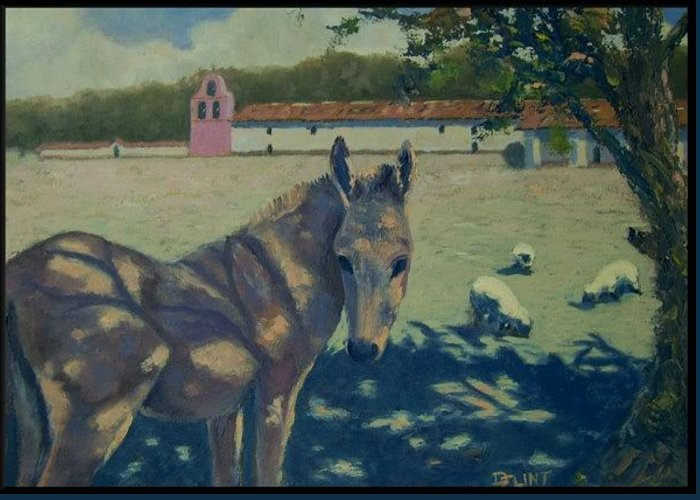 Lompoc Lapurisima Mission Greeting Card featuring the painting Mission Friends by Darrell Flint