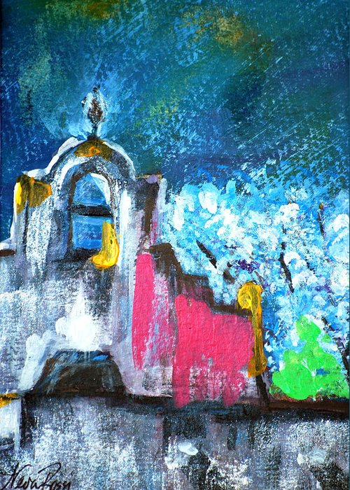 Churches Greeting Card featuring the painting Mission Of The Spirit by Neva Rossi