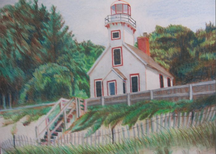 Landscape Greeting Card featuring the drawing Mission Point Lighthouse by Matthew Handy