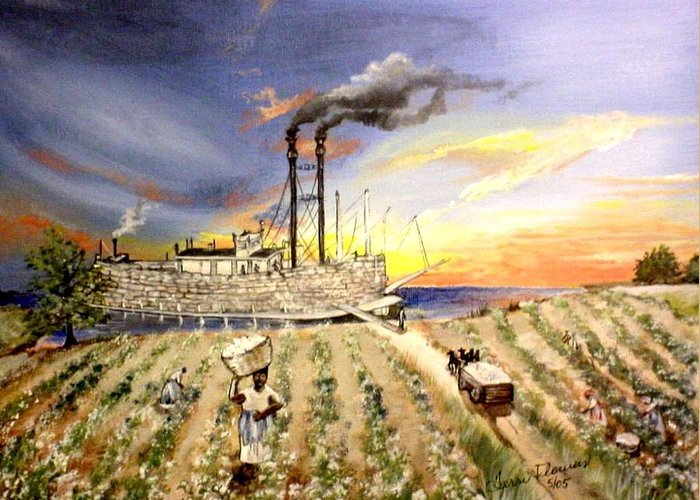 Memphis Greeting Card featuring the painting Mississippi Cotton Boat by Terri Kilpatrick