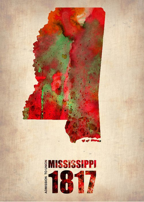 Mississippi State Map Greeting Cards