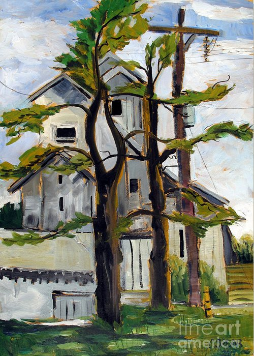 Landscape Greeting Card featuring the painting Missouri Nowata Elevator by Charlie Spear