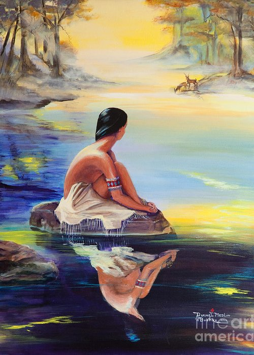 Indian Women Greeting Card featuring the painting Mist Reflections by Diane Rose Medlin