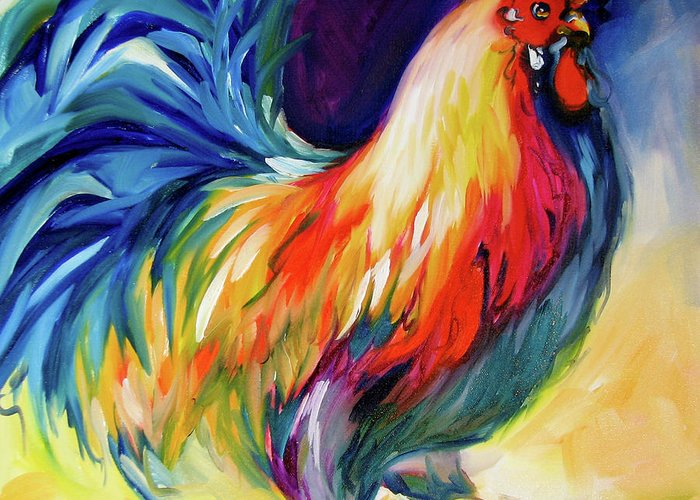Rooster Greeting Card featuring the painting Mister Show Rooster Art by Marcia Baldwin