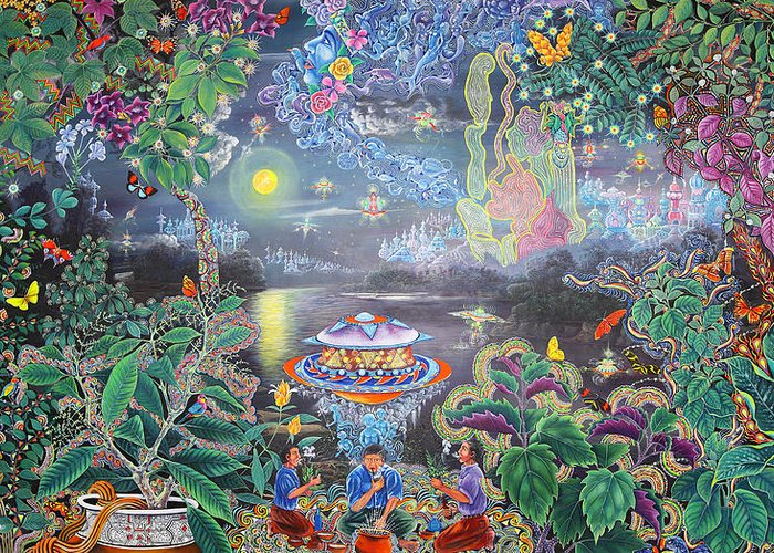 Pablo Amaringo Greeting Card featuring the painting Misterio Profundo by Pablo Amaringo