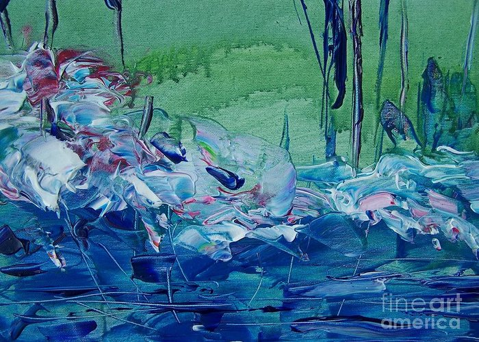 Blues Greeting Card featuring the painting Mistery Pond by Geraldine Liquidano