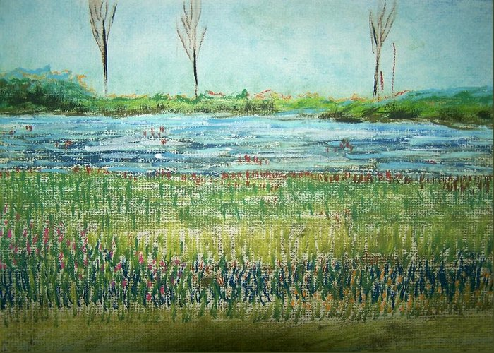 Landscape Greeting Card featuring the painting Mistery Pond In Orchard Park Ny by Geraldine Liquidano