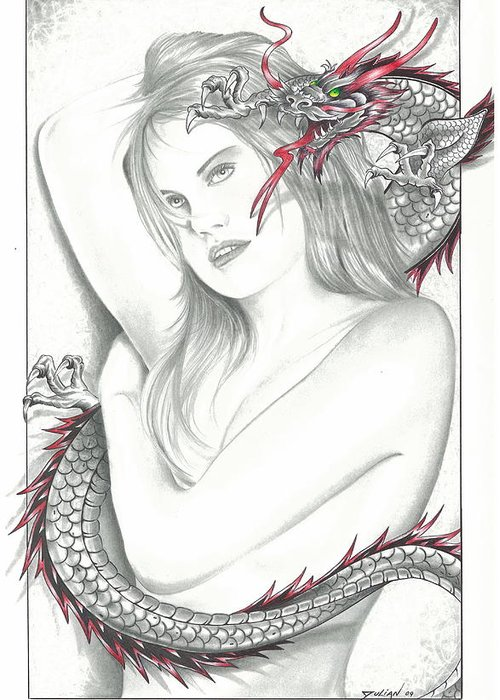 Nude Women Greeting Card featuring the drawing Mistress Of The Dragon by Julian B