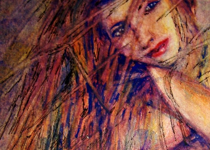 Woman Greeting Card featuring the painting Misty - Watercolor by Donna Hanna