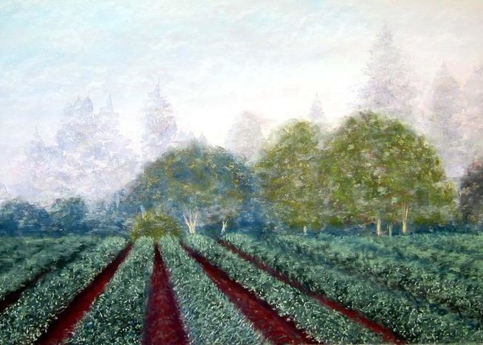 Landscape Greeting Card featuring the painting Misty Blue by Carl Capps