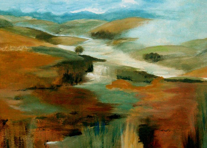 Abstract Greeting Card featuring the painting Misty Hills by Ruth Palmer