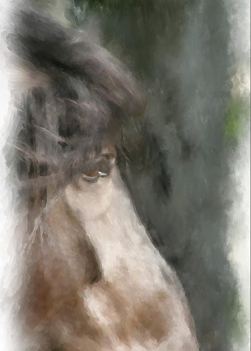 Horse Greeting Card featuring the painting Misty Morn by Elzire S