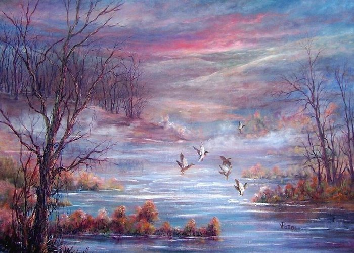Morning Mist Greeting Card featuring the painting Misty Morning Flight by Virginia Potter