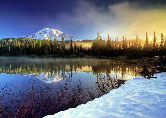 Mountain Greeting Card featuring the photograph Misty Morning Lake by William Freebilly photography