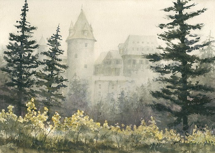 Castle Greeting Card featuring the painting Misty Morning by Sam Sidders