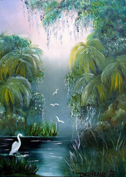 Morning Greeting Card featuring the painting Misty Morning Swamp by Darlene Green