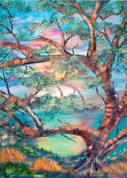 Original Greeting Card featuring the painting Misty Oak by Mikki Alhart