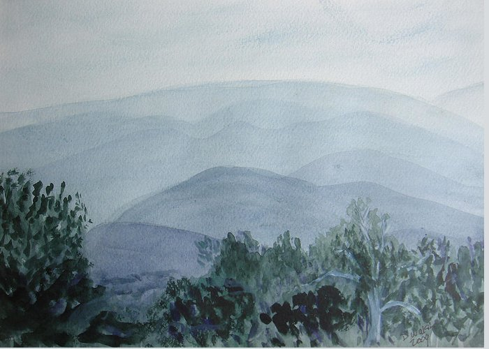 Misty Greeting Card featuring the painting Misty Shenandoah by Donna Walsh