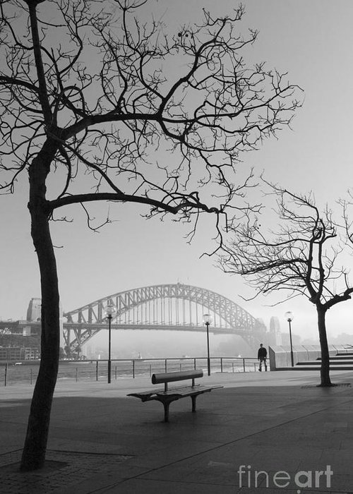 Sydney Harbour Bridge Mist Australia Greeting Card featuring the photograph Misty Sydney Morning by Sheila Smart Fine Art Photography