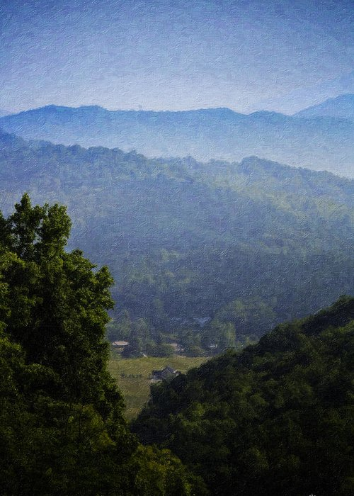 Virginia Greeting Card featuring the painting Misty Virginia Morning by Teresa Mucha