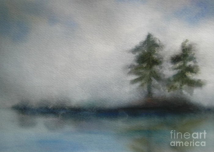 Landscape Greeting Card featuring the painting Misty Waters by Vivian Mosley