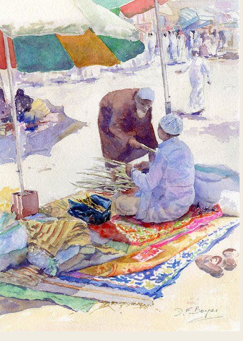 Miswak Greeting Card featuring the painting Miswak Seller Jeddah by Dorothy Boyer