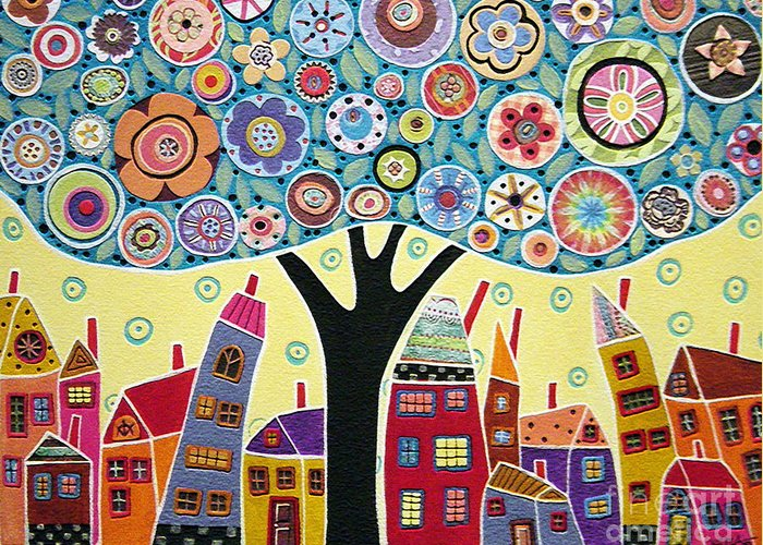Landscape Greeting Card featuring the painting Mixed Media Collage Tree And Houses by Karla Gerard
