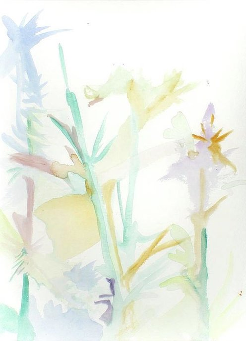 Morning Flowers Greeting Card featuring the painting Mixed Stalks Morning Flowers by James Christiansen