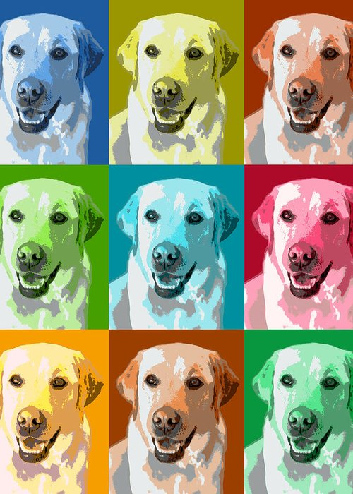 Americana Greeting Card featuring the photograph Golden Retriever Warhol by Marilyn Hunt