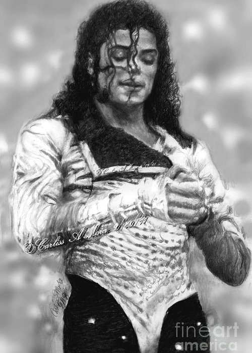 Michael Jackson Greeting Card featuring the drawing Mj Preps For The Show by Carliss Mora