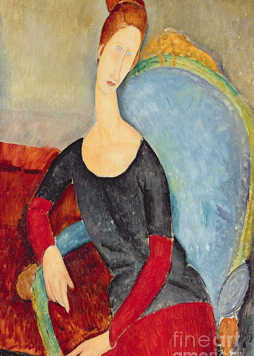 Mme Hebuterne In A Blue Chair Greeting Card featuring the painting Mme Hebuterne In A Blue Chair by Amedeo Modigliani