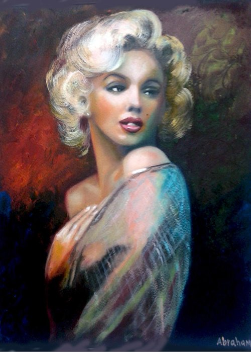 Monroe. Women. Greeting Card featuring the painting M.Monroe by Jose Manuel Abraham