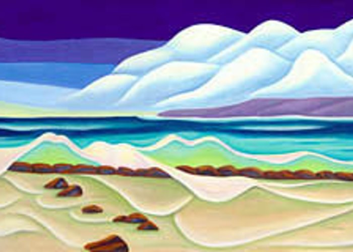 Landscape Greeting Card featuring the painting Moana Kai Surf by Lynn Soehner
