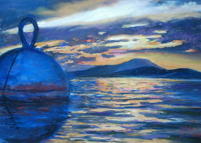 Seascape Greeting Card featuring the painting Moaring Ball Overlooking St. John by Billie Colson