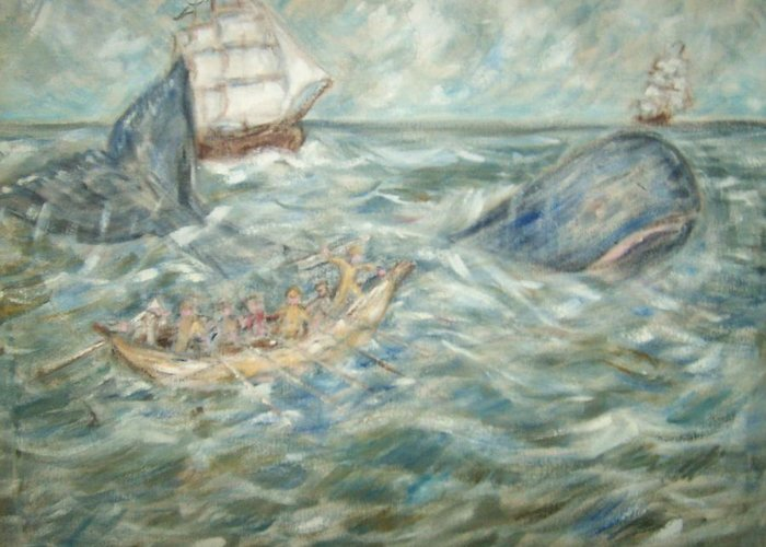 Seascape Whale Ship Ocean Whaleboat Greeting Card featuring the painting Mobey Dick by Joseph Sandora Jr
