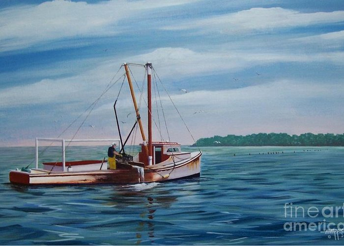 Chesapeake Bay Greeting Card featuring the painting Mobjack Waterman by Hugh Harris