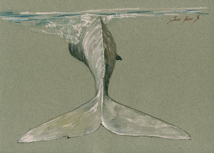 Moby Dick Greeting Card featuring the painting Moby Dick The White Sperm Whale by Juan Bosco